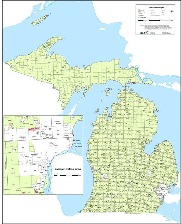 Townships in Michigan on